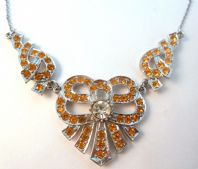 Vintage Amber Rhinestone Bow Design Statement Necklace.
